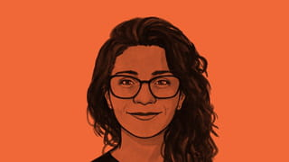 Bright neon orange background filtered through a black and white illustration of a face smiling to camera with glasses and long black hair pushed to one side