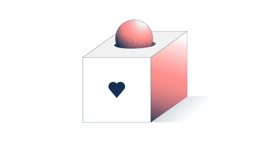 Illustration of a box with a heart drawn on it. A ball is added into the box.