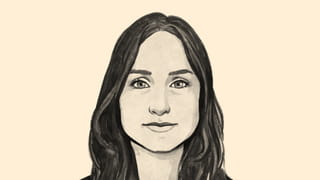 Illustrated avatar of a woman big eyes and long dark hair on a yellow background, Sanne Blauw.