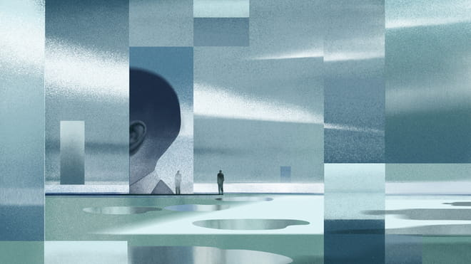 Illustration composed from different rectangular shapes in a variation of blueish, greyish and greenish tones. Together the rectangular shapes show a fragmented landscape were you can see the side of a human fronting the ear and one silhouette of a person reflecting on one of the rectangular shapes.