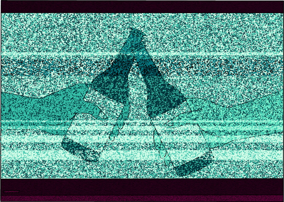 Illustration of a distorted tv, showing an add for a drinks