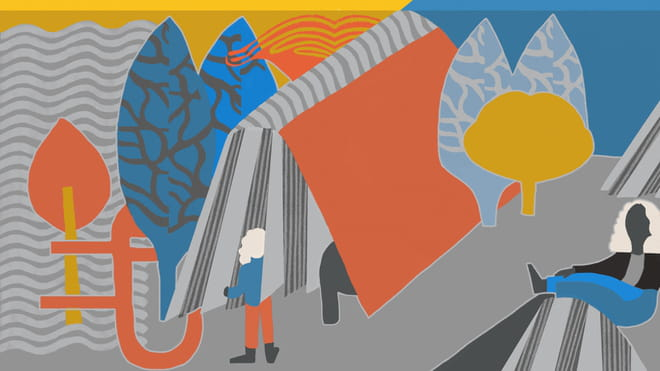 Colourful illustration with lots of trees and abstract shapes of a women entering inside a book and another one sitting.