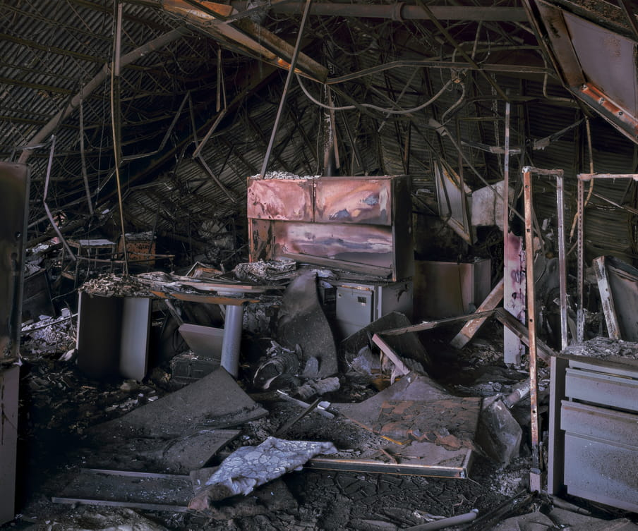 Photo of an office, destroyed