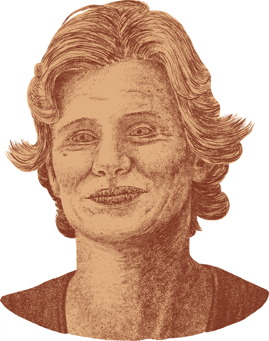 Illustration of a womans face, with short hair and a small smile, drawn as if she's a statue