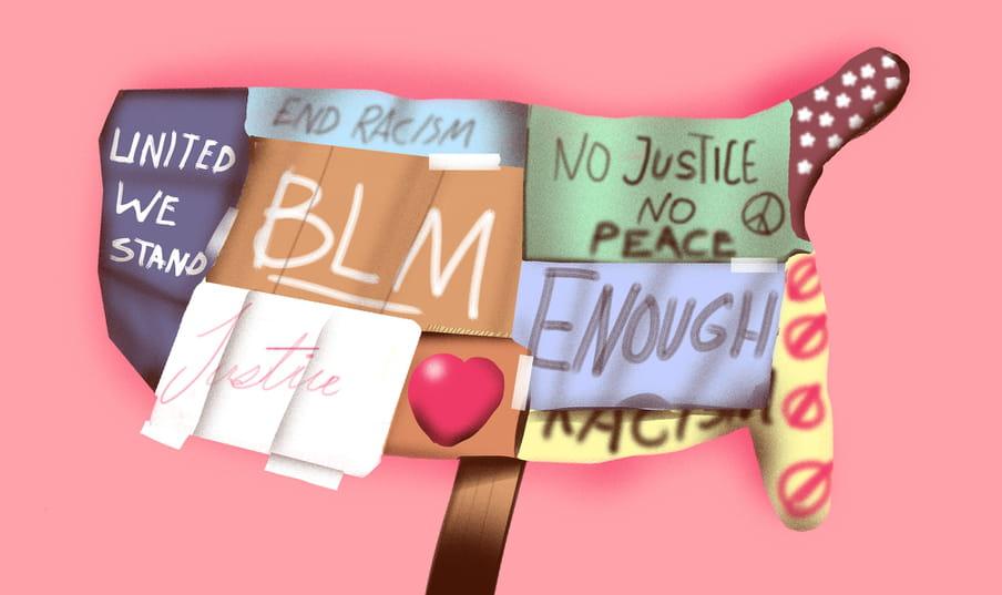 Colorful illustration of a Black Lives Matter sign against a pink background
