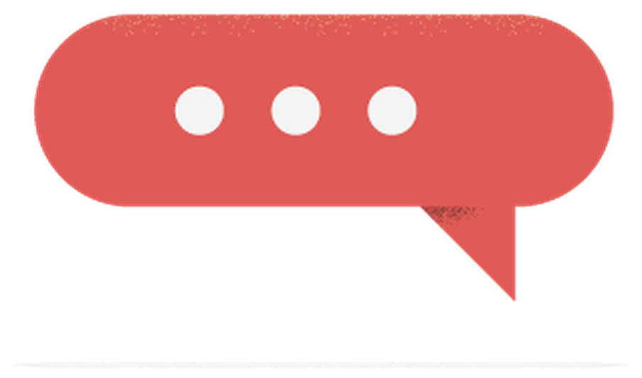 Illustration of a red text bubble with three dots in it.