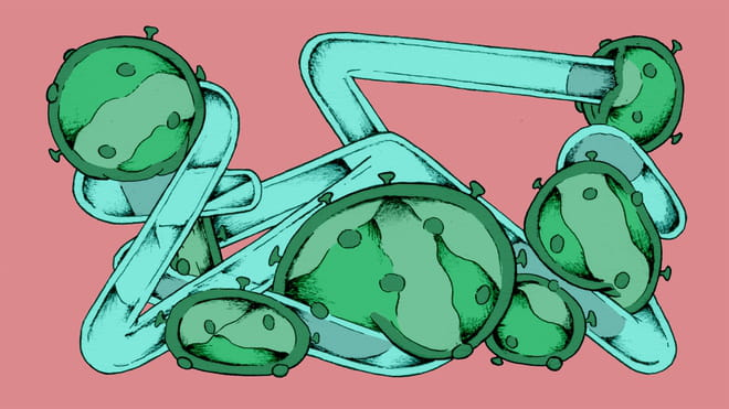 Illustration of a turquoise colour set of tubes at right angles from each other, with a sort of green mass with dots around it oozing out of it at angles, overwhelming the structure, against a pink background.