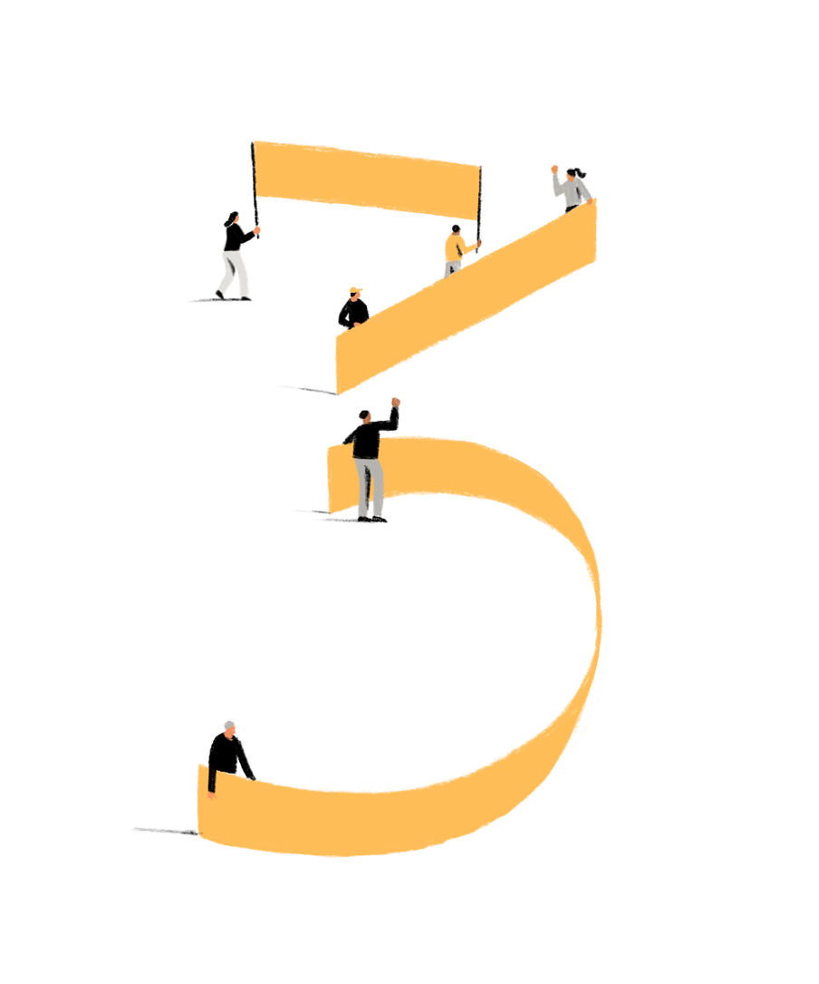 Illustration of people holding yellow banners, together forming the shape of the number 3