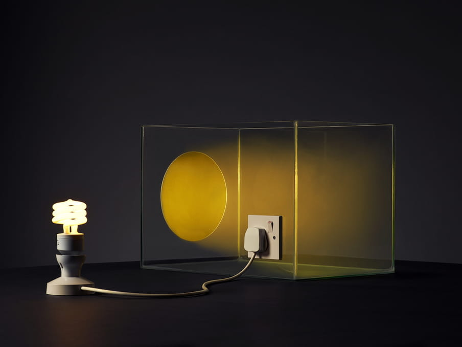 Photo of a lit lamp connected to a glass tank, an artificial sun shining in it