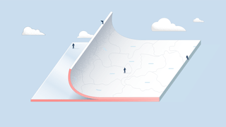 Illustration of a floating see-trough rectangle on a blue background with clouds, with a layer on top that depict borders, which is half peeled off. On top of it are human-like figures.