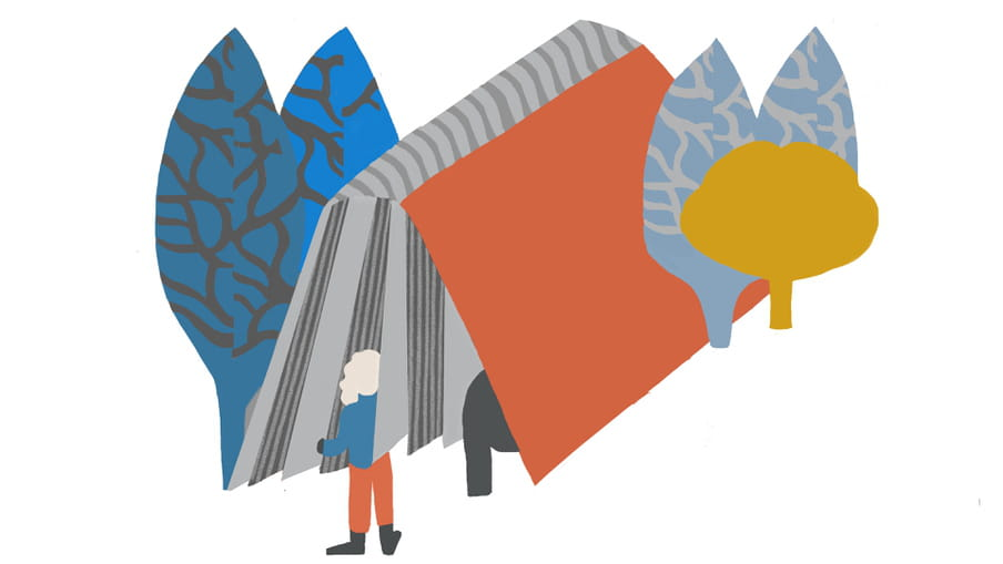 Colourful illustration of a non-descript woman in a blue top, orange trousers and black shoes entering a giant grey and orange book which is open, spine facing up. The book is sandwiched by four tree shapes of differing blues, and one small mustard coloured one