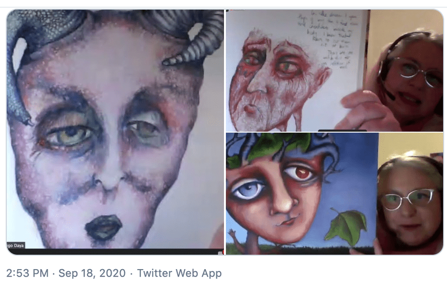 A screenshot of the author's tweet containing a picture of Indigo Daya presenting at the 'A Disorder for Everyone' festival. She is holding up her paintings of the voices in her head - the 'beast' and the 'judge'. They look fearsome and forbidding. In a third painting, she shows the beast transforming into a more benign. friendly creature that she calls 'the injured lover'.