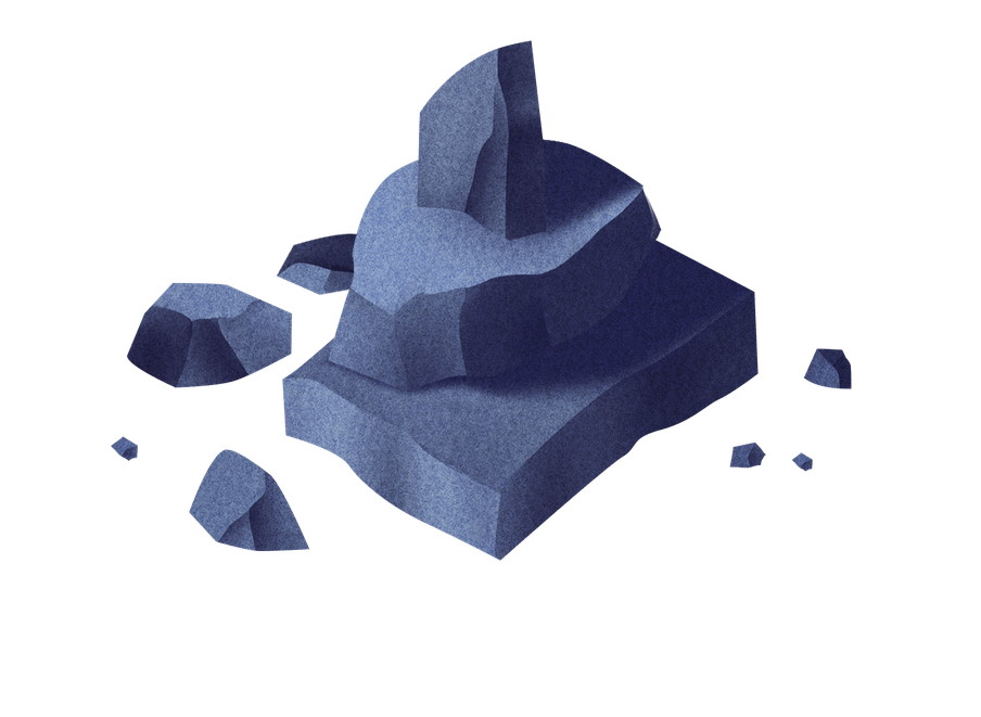 An illustration of a pile of rocks, representing obstacles.