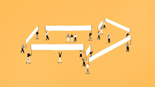 Illustration of people holding banners, together making the shape of an arrow - on a yellow background