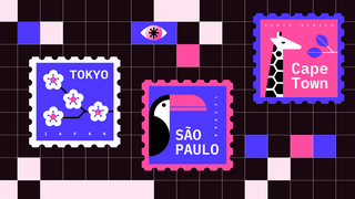 Three illustrated stamps saying Tokyo (with four white flowers), Sao Paolo (with a black and pink pelican) and Cape Town (with a black and white giraffe and purples leaves). These lie against a background image of black squares, representing pixels, with two small purple squares at the top, and in ne of them, the shape of an eye with a virus blob shaped pupil