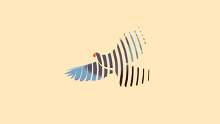 Illustration of a bird in flight with a red beak, blue wings, and black body, against a pale yellow background. The bird appears as a series of strokes, rather than as a full image