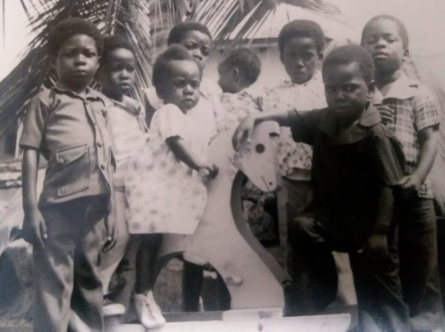 Photo of a group of children in black and white