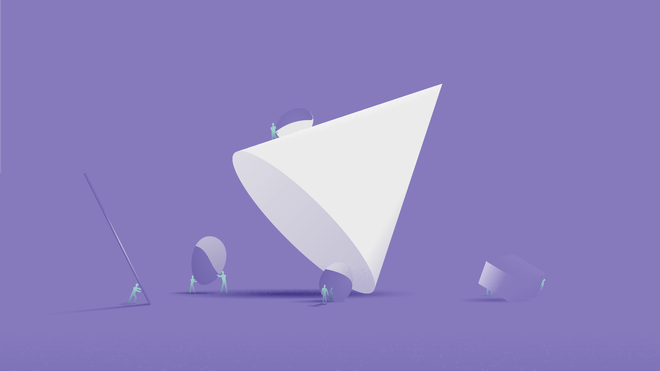 Illustration of a white cone over a purple background. Around it, little blue human-like figures are busy transporting objects of different shapes and sizes.