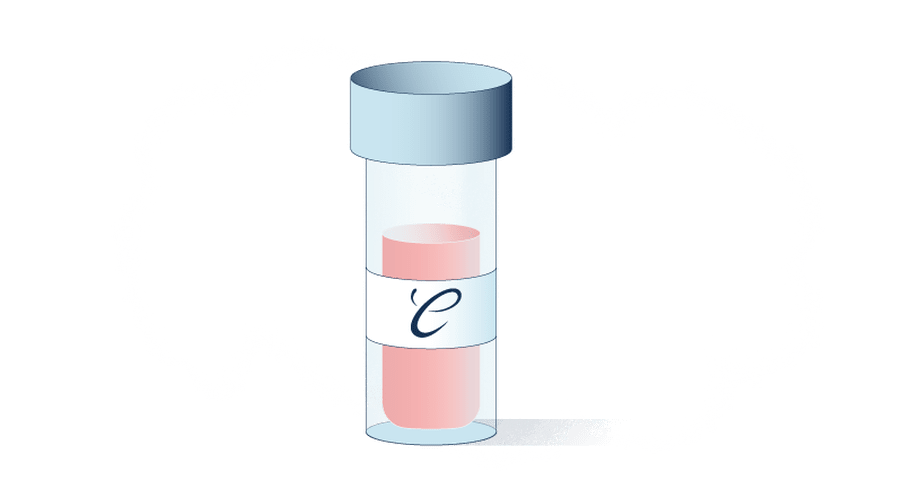 Illustration of pink liquid in a small bottle with a The Correspondent logo on it.