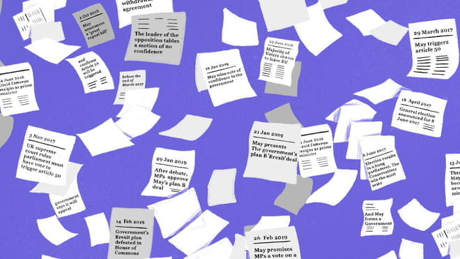 Illustration of sheets of blank papers falling down against a purple background showing legible Brexit handwritten newspaper headlines through the years. One reads: '29 Jan 2019: After debate, MPs approve May's plan B deal'