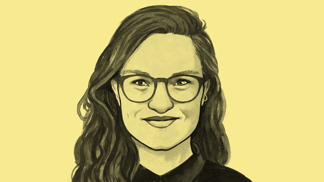 Smiling black and white illustrated aquarel drawn headshot of a person with long hair, a side parting, and glasses against a yellow background