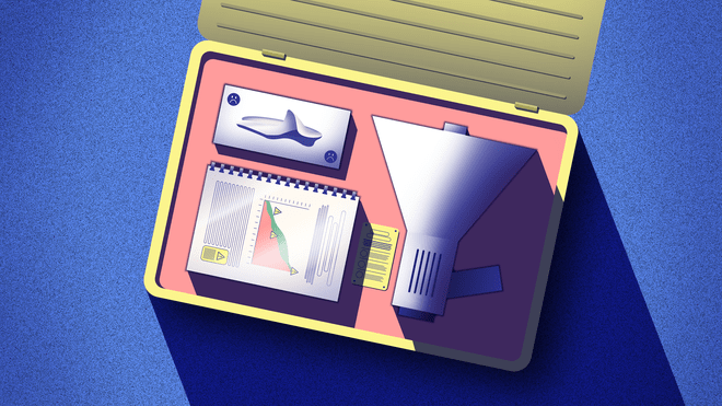 Illustration of a survival kit box containing a tissue box, a scientific report and a megaphone.