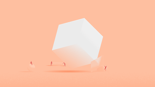 Illustration of a white cube over a peach-coloured background. Around it, little human-like figures are busy transporting objects of different shapes and sizes.