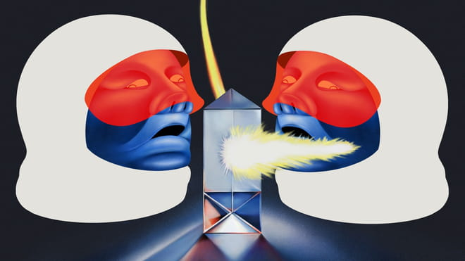 Illustration of two faces wearing big white ski balaclavas wrapped around their heads, facing to the side profile, red visors and mouths open. In the middle, some sort of powerhouse with fire coming out of the middle and up towards the top