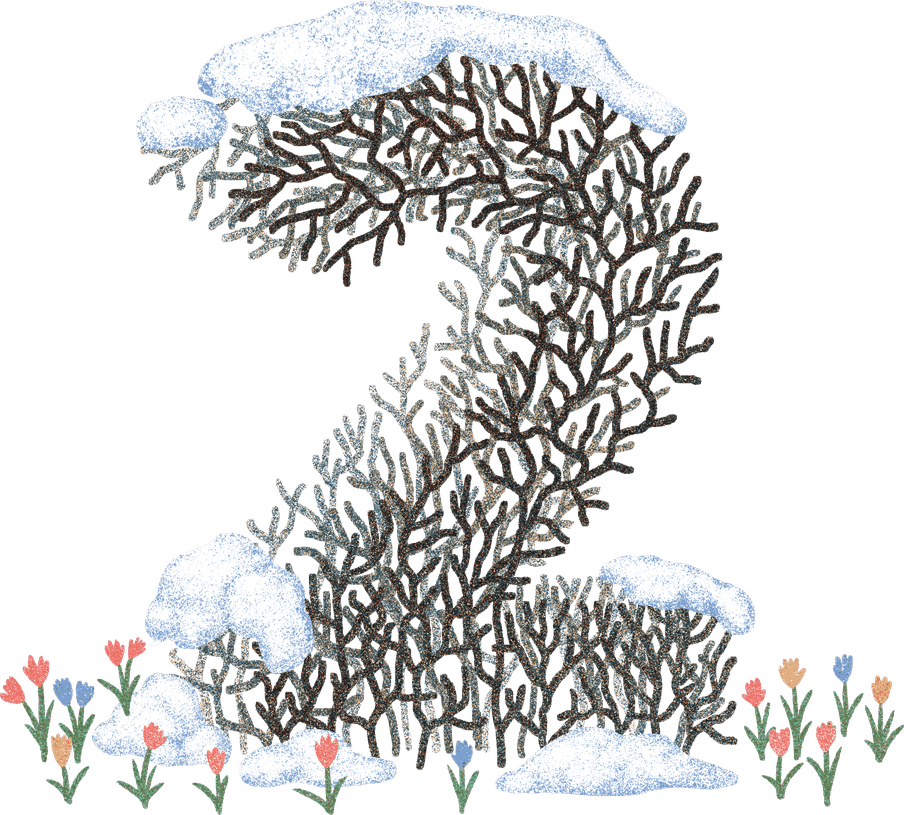 The number two illustrated from branches covered with snow, little young flowers growing at the bottom