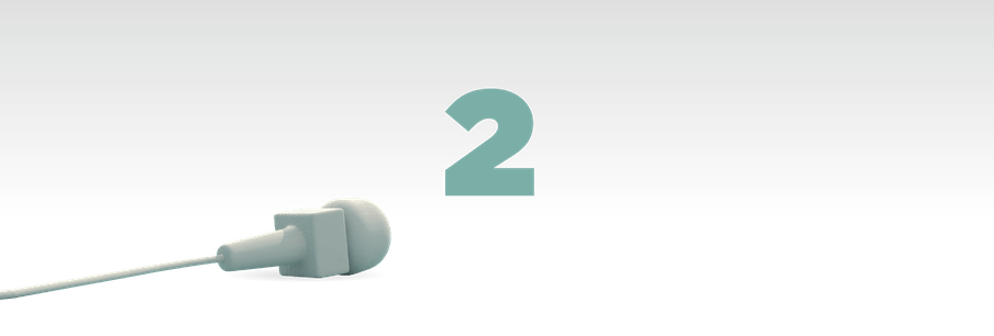 Illustration of the number two in green with a mic laying in front of it