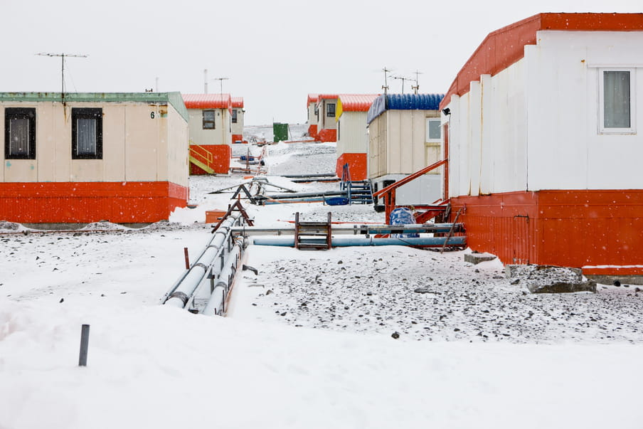 Housing in the settlement of Villa las estrellas in King George Island, Antarctica. The maximum allowance for inhabitants in summer is 150 people, and the average in winter will drop to aproximately 80 people. Photo by Ronald Patrick, March 23, 2011.