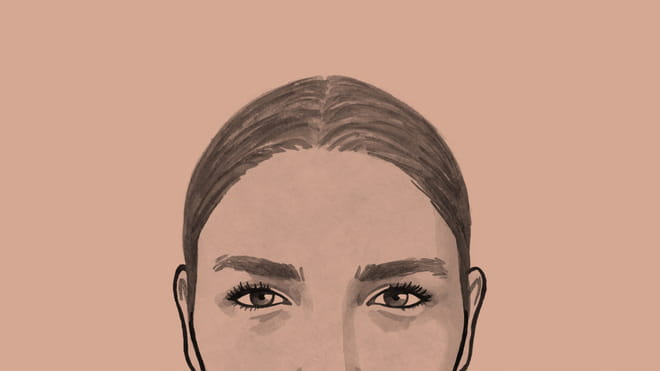 Black and white illustrated avatar of the author; within the frame the upper half of the face is visible, with tied-up hair, eyebrows and eyes with prominent eyelashes, set against a tinted dark pinkish background