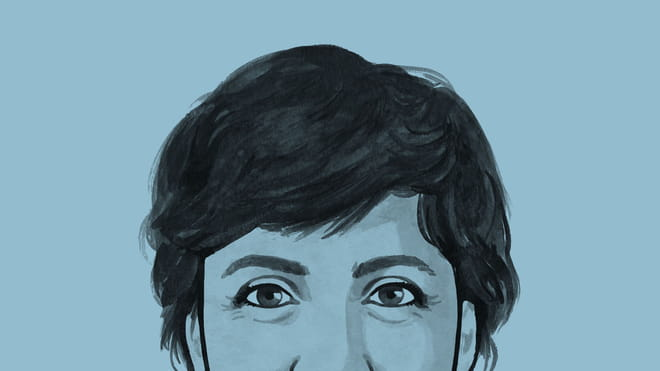 Illustrated avatar of the correspondent, against a blue background.