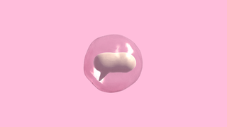 Illustratin of a white 3D speech bubble inside of a glass-like bubble against a pink background. Light reflects on the glass.