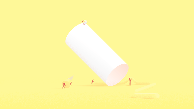Illustration of a white cylinder over a bright yellow background. Around it, little human-like figures are busy transporting objects of different shapes and sizes.