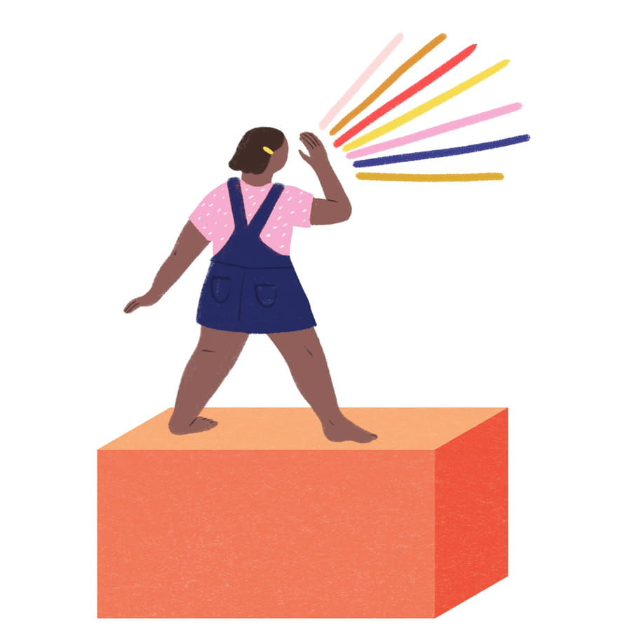 Illustration of the back of a barefoot, dark-skinned child wearing a yellow clip in her short wavy hair, standing on an orangey-red block, in a pink and white polka dot short and blue dungaree dress. Her hand is raised to her mouth and seven colourful blue, yellow, red and mustard coloured sounds are coming out