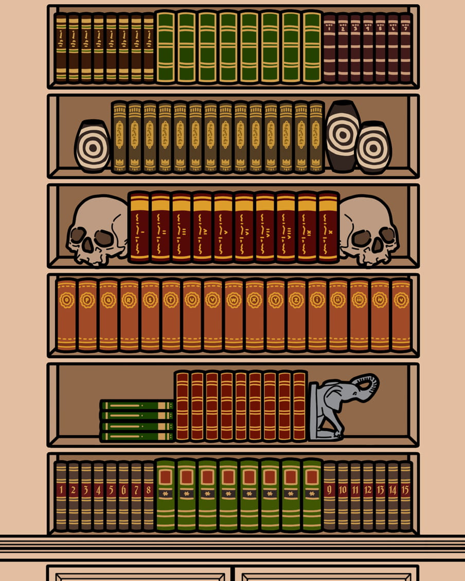 Skulls used as bookends.