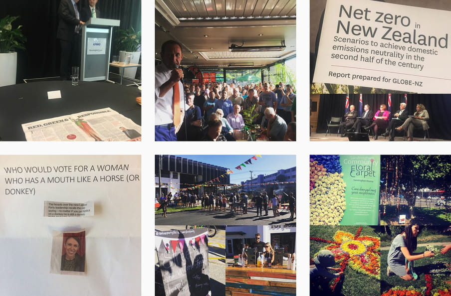 Instagram screenshot of her at a flower festival, her speaking at an event about carbon emission and a photo of a text that reads 'Who would vote for a woman who has a mouth like a horse (or donkey) with her photo printed out and placed on a wall.