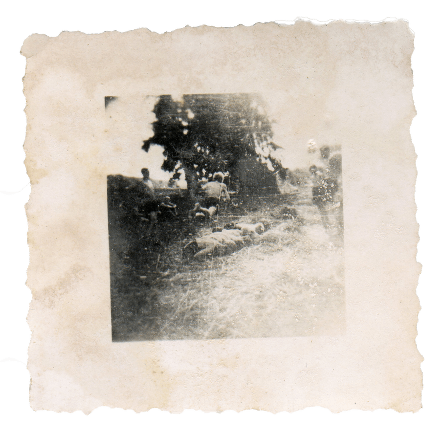 Old damaged photo, the content almost unrecognisable