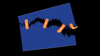 Illustration: a rectangle purple piece of graph paper with dotted lines dividing into squares is suspended against a black background. There is a zig zag resembling a stock market downwards drop on this graph which gets deeper and bigger and leaks into the black background, and three orange plasters are trying to keep it patched together (the paper appears torn); one plaster is flying off the side. By Leon de Korte