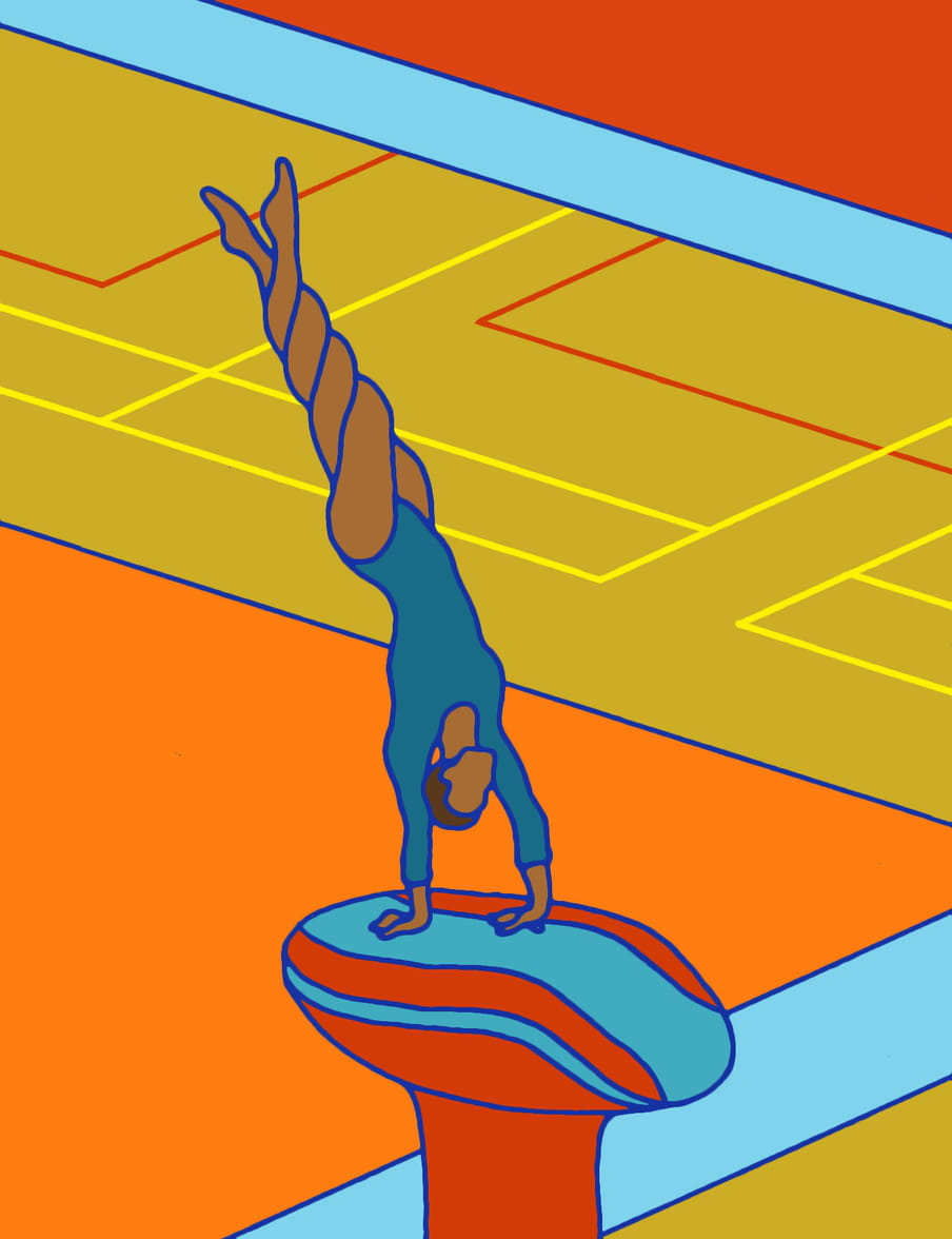 Illustration of a figure in a blue long armed leotard in a handstand on a red and blue stool, their legs twisted up and above them in four twists, like a swirl. Background has orange, blue, red, yellow and mustard boxes, lines, and gymnastics indoor court markings