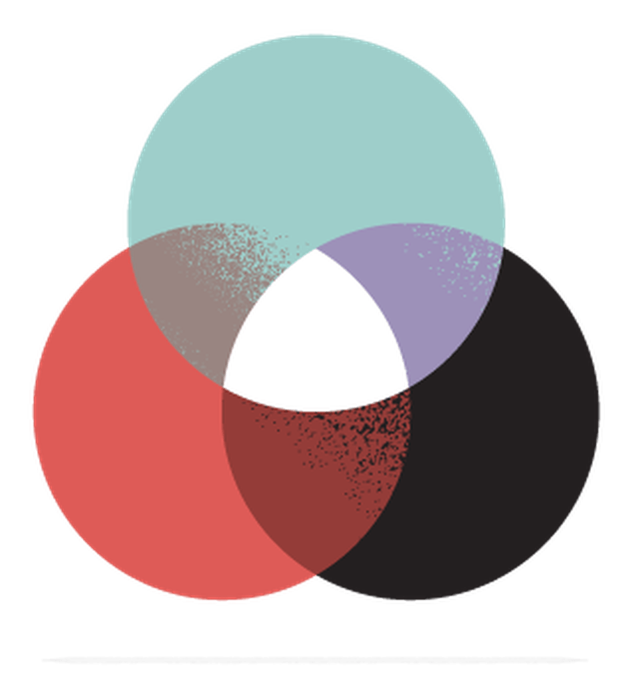 Illustration of three circles - red, black and green - overlapping.