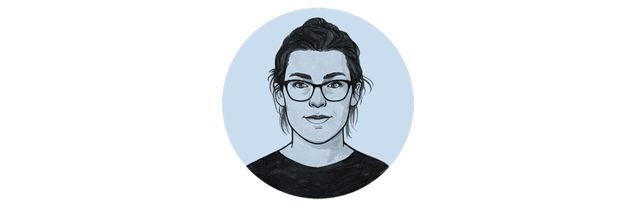 Hand drawn illustration of a woman wearing glasses, who's name is Imogen.