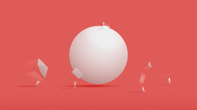 Illustration of a white sphere over a red background. Around it, little human-like figures are busy transporting objects of different shapes and sizes.