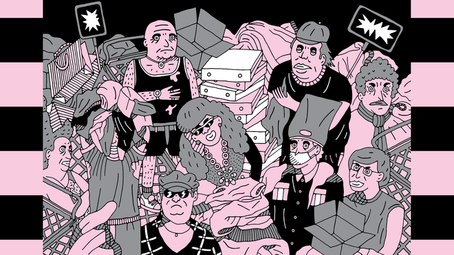 Illustration in pink and black of human figures
