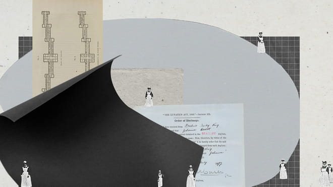 Collages of documents and human figure