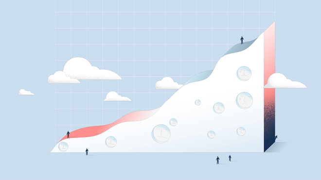 Illustration of an upwards graph before a light blue background. There are sad faces drawn into the graph. Little human-like figures stand around it.