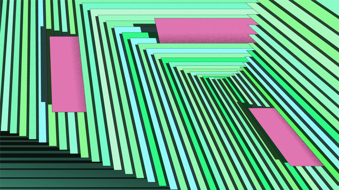 Graphic: illustration papers in different shades of green and light blue that are aligned in the shape of an wave with small pink notes that stick out