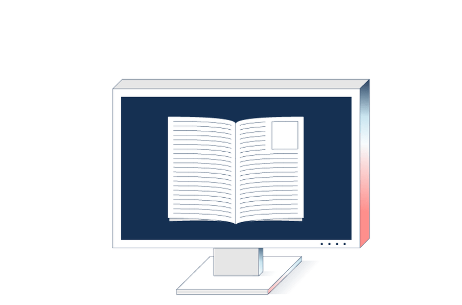 Illustration of a computer screen with an open book depicted on it.