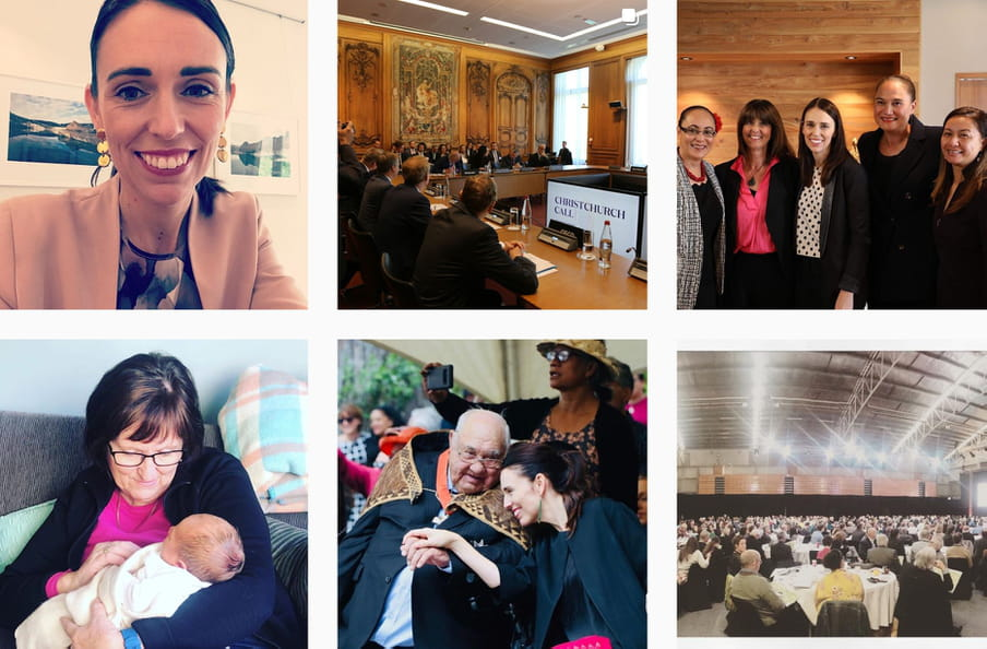 Screenshot of Jacindas instagram feed, showing a selfie of herself, her in parliament, her baby and her at a dinner.